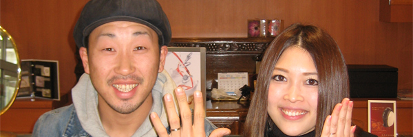 自分にあった結婚指輪が見つかり大満足のお二人:REGALO